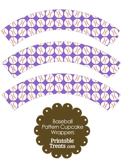 Purple Baseball Pattern Cupcake Wrappers from PrintableTreats.com