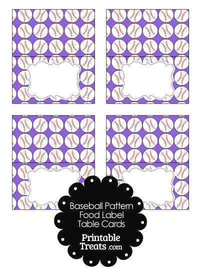 Purple Baseball Pattern Food Labels from PrintableTreats.com