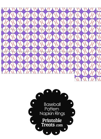 Purple Baseball Pattern Napkin Rings from PrintableTreats.com