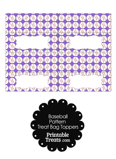 Purple Baseball Pattern Treat Bag Toppers from PrintableTreats.com