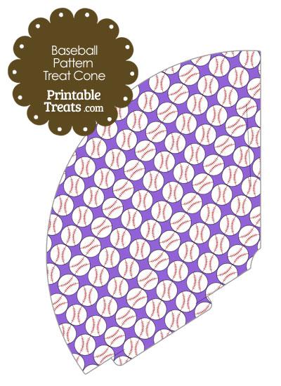 Purple Baseball Pattern Treat Cone from PrintableTreats.com