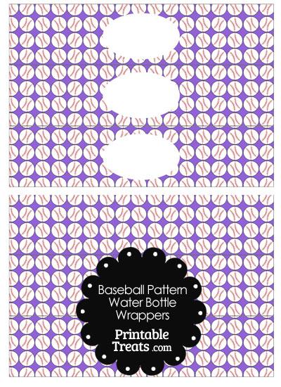 Purple Baseball Pattern Water Bottle Wrappers from PrintableTreats.com