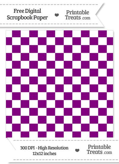 Purple Checkered Pattern Digital Paper from PrintableTreats.com
