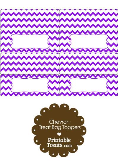 Purple Chevron Treat Bag Toppers from PrintableTreats.com