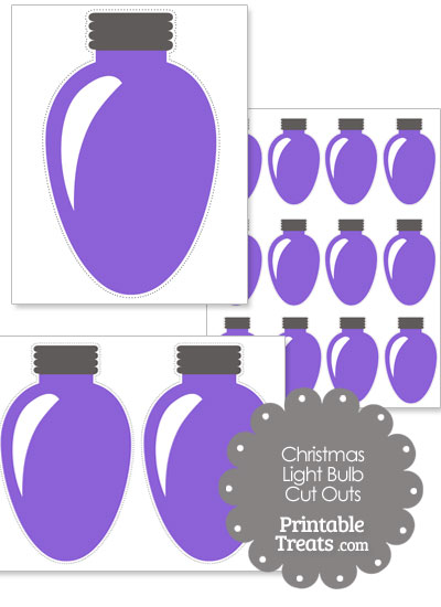 Purple Christmas Light Bulb Cut Outs from PrintableTreats.com