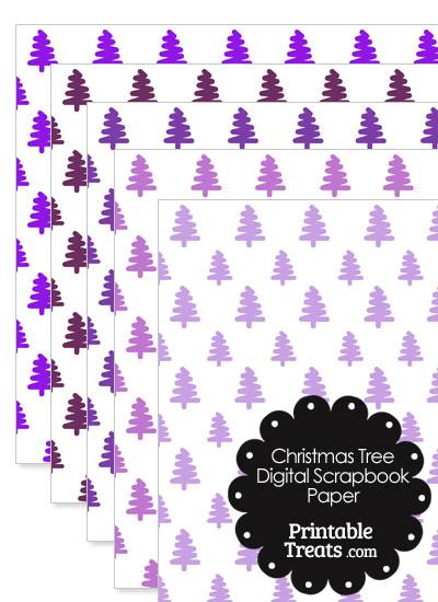 Purple Christmas Tree Digital Scrapbook Paper from PrintableTreats.com