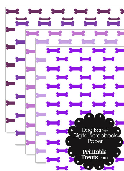 Purple Dog Bone Digital Scrapbook Paper from PrintableTreats.com