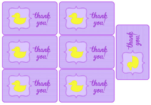 purple duck baby shower party favor tags