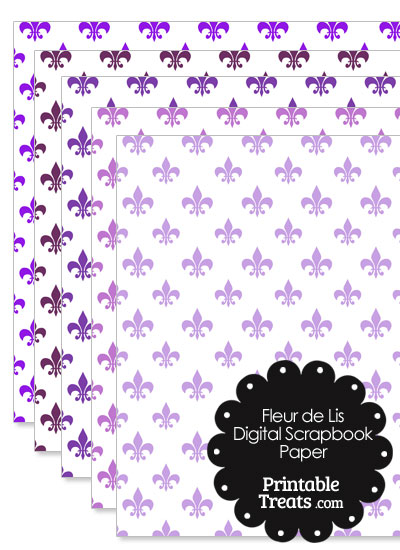 Purple Fleur de Lis Digital Scrapbook Paper from PrintableTreats.com