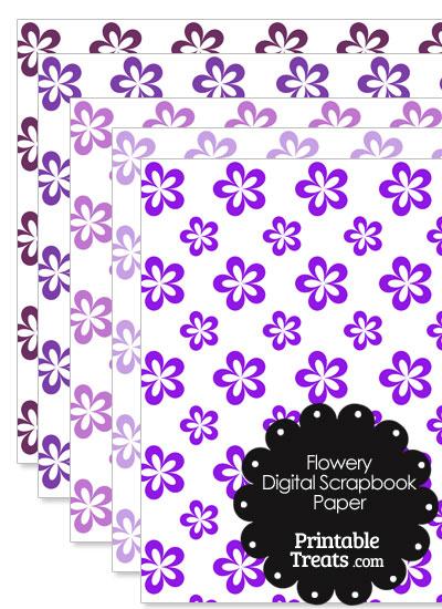 Purple Flower Digital Scrapbook Paper from PrintableTreats.com
