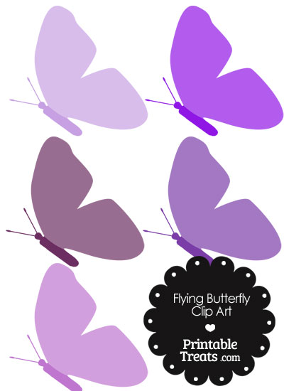 Purple Flying Butterfly Clipart from PrintableTreats.com