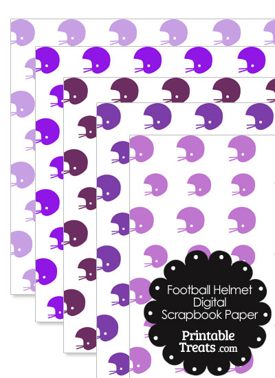 Purple Football Helmet Digital Scrapbook Paper from PrintableTreats.com
