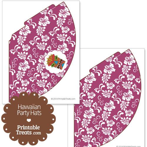 purple Hawaiian party hat printable