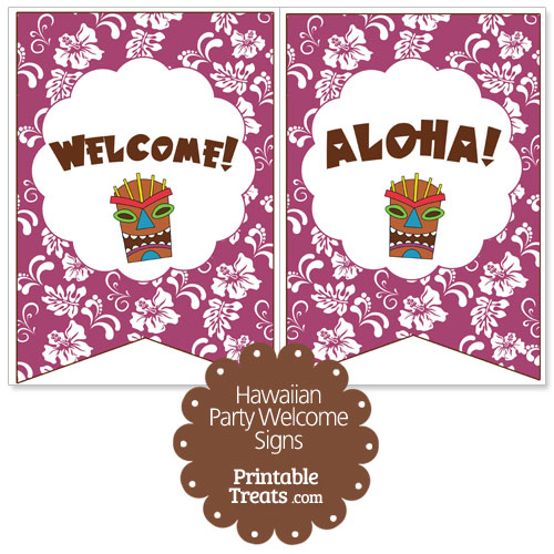 purple Hawaiian party welcome sign