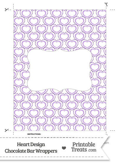 Purple Heart Design Chocolate Bar Wrappers from PrintableTreats.com