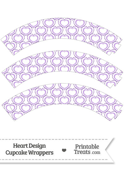 Purple Heart Design Cupcake Wrappers from PrintableTreats.com