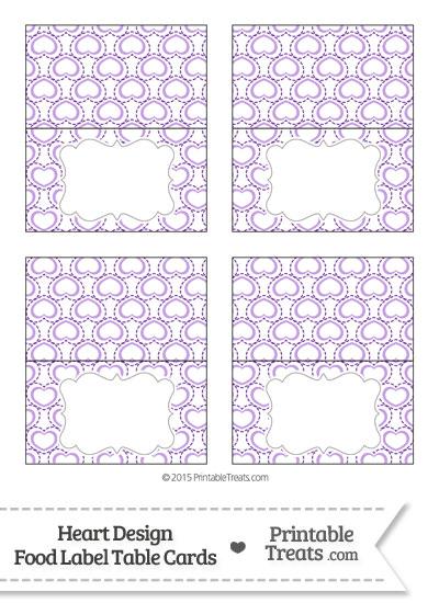 Purple Heart Design Food Labels from PrintableTreats.com