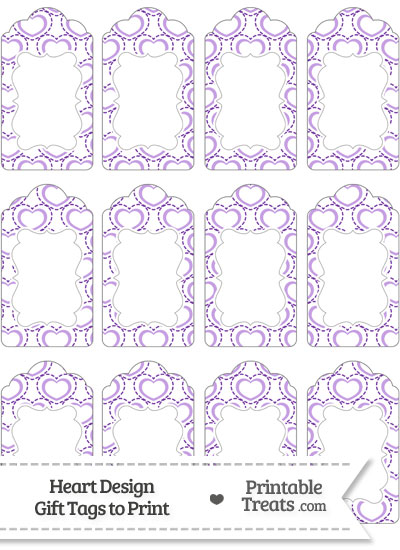 Purple Heart Design Gift Tags from PrintableTreats.com