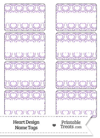Purple Heart Design Name Tags from PrintableTreats.com