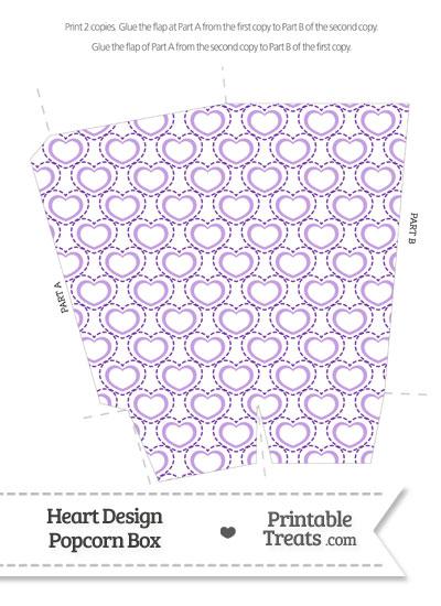 Purple Heart Design Popcorn Box from PrintableTreats.com