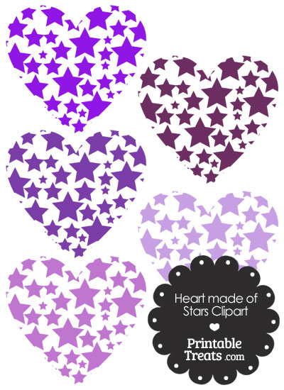 Purple Heart Made of Stars Clipart from PrintableTreats.com