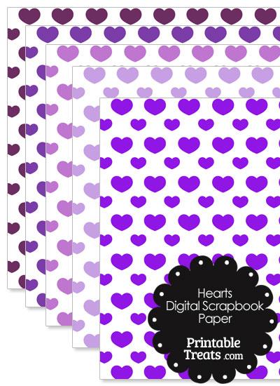 Purple Hearts Digital Scrapbook Paper from PrintableTreats.com
