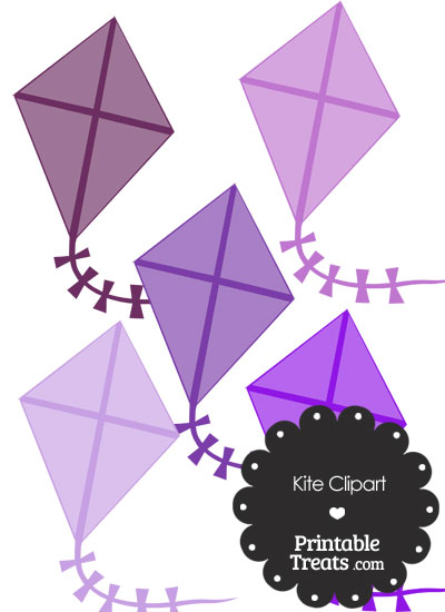 Purple Kite Clipart from PrintableTreats.com