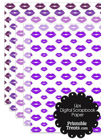 Purple Lips Digital Scrapbook Paper from PrintableTreats.com