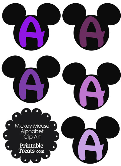 Purple Mickey Mouse Head Letter A Clipart from PrintableTreats.com
