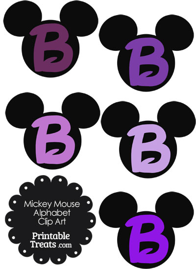 Purple Mickey Mouse Head Letter B Clipart from PrintableTreats.com