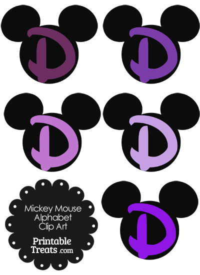 Purple Mickey Mouse Head Letter D Clipart from PrintableTreats.com