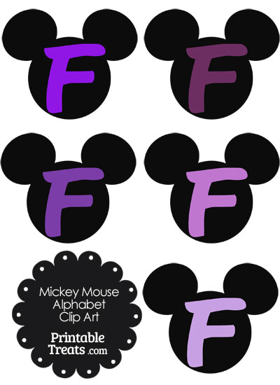 Purple Mickey Mouse Head Letter F Clipart from PrintableTreats.com