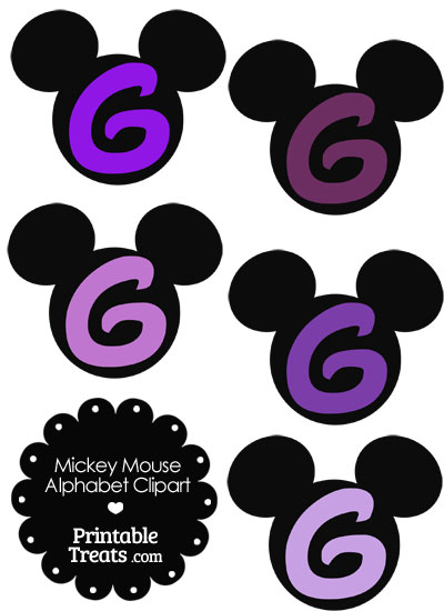 Purple Mickey Mouse Head Letter G Clipart from PrintableTreats.com