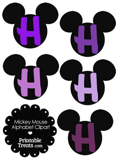 Purple Mickey Mouse Head Letter H Clipart from PrintableTreats.com