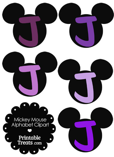 Purple Mickey Mouse Head Letter J Clipart from PrintableTreats.com