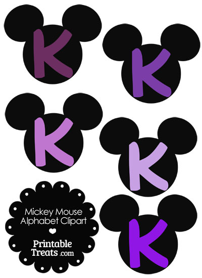 Purple Mickey Mouse Head Letter K Clipart from PrintableTreats.com