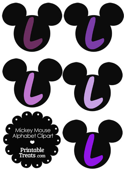 Purple Mickey Mouse Head Letter L Clipart from PrintableTreats.com