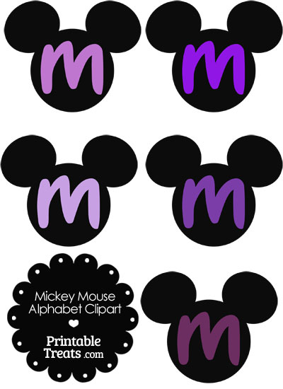 Purple Mickey Mouse Head Letter M Clipart from PrintableTreats.com