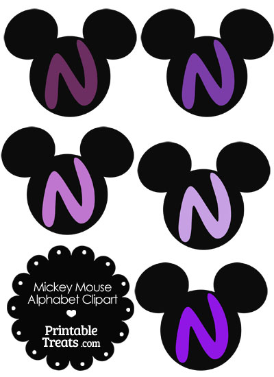 Purple Mickey Mouse Head Letter N Clipart from PrintableTreats.com