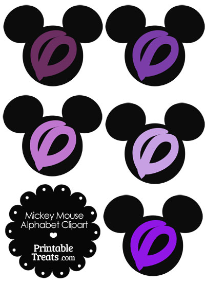 Purple Mickey Mouse Head Letter O Clipart from PrintableTreats.com