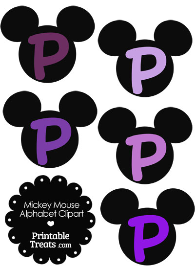 Purple Mickey Mouse Head Letter P Clipart from PrintableTreats.com
