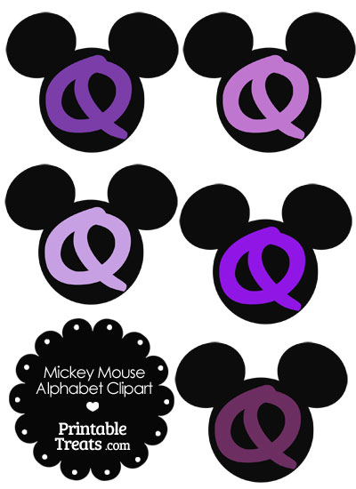 Purple Mickey Mouse Head Letter Q Clipart from PrintableTreats.com
