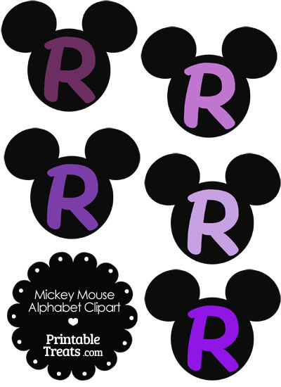 Purple Mickey Mouse Head Letter R Clipart from PrintableTreats.com