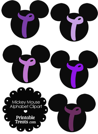 Purple Mickey Mouse Head Letter T Clipart from PrintableTreats.com