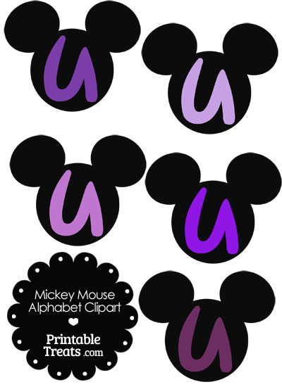 Purple Mickey Mouse Head Letter U Clipart from PrintableTreats.com