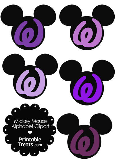 Purple Mickey Mouse Head Letter W Clipart from PrintableTreats.com
