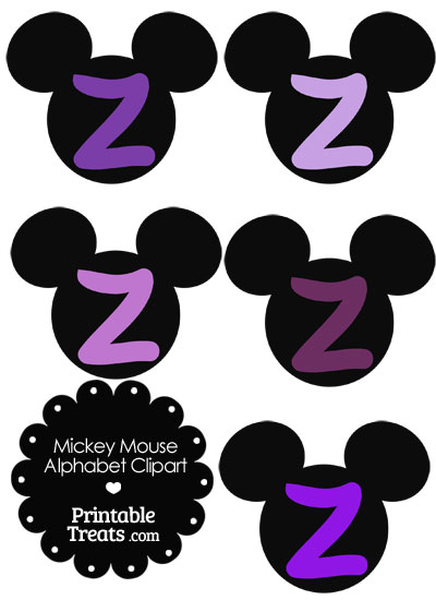 Purple Mickey Mouse Head Letter Z Clipart from PrintableTreats.com
