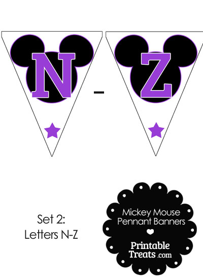 Purple Mickey Mouse Pennant Banner Letters N-Z from PrintableTreats.com