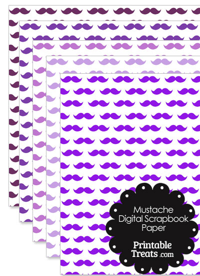 Purple Mustache Digital Scrapbook Paper from PrintableTreats.com