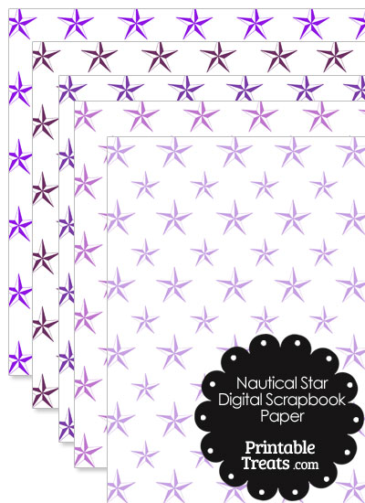 Purple Nautical Star Digital Scrapbook Paper from PrintableTreats.com